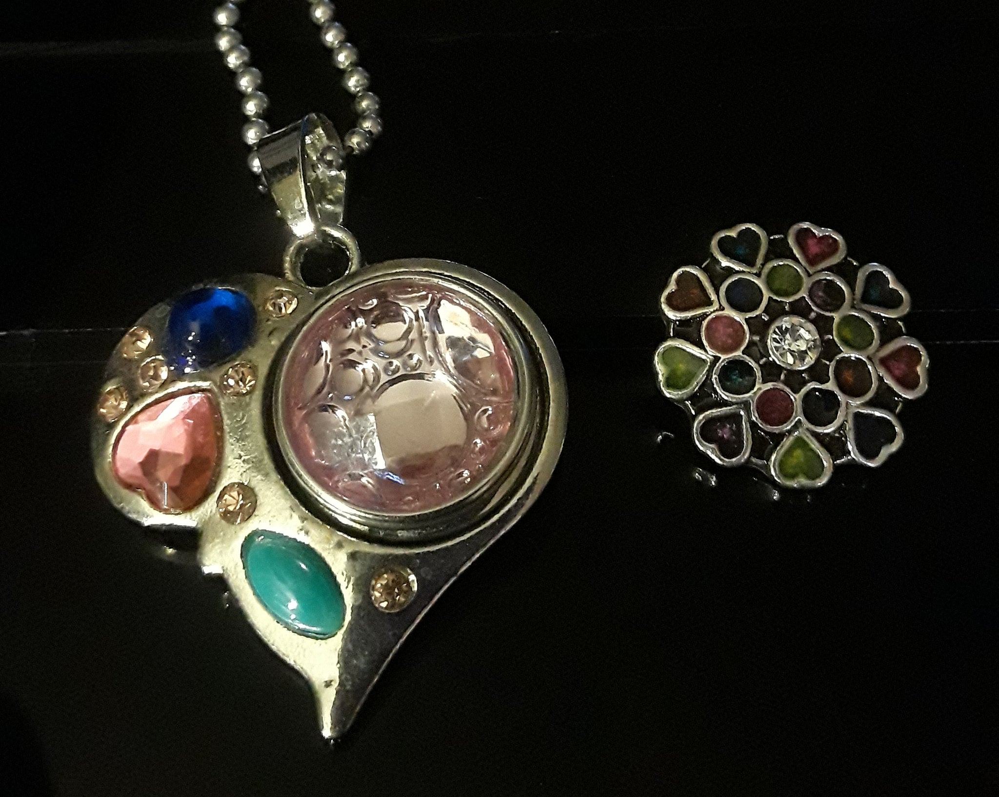 18mm noosa snap heart pendant w multiple colored rhinestones