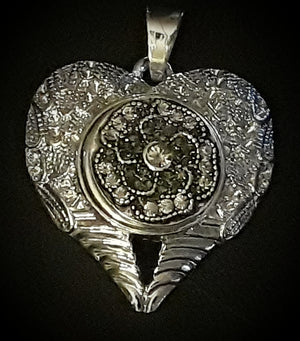 Heart angel wings 18mm noosa snap charm pendant and 18 mm snap