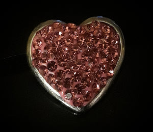 18mm noosa snap pink rhinestone heart