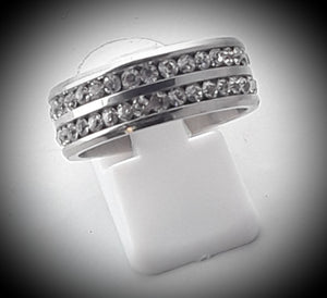 Double band rhinestone unisex ring