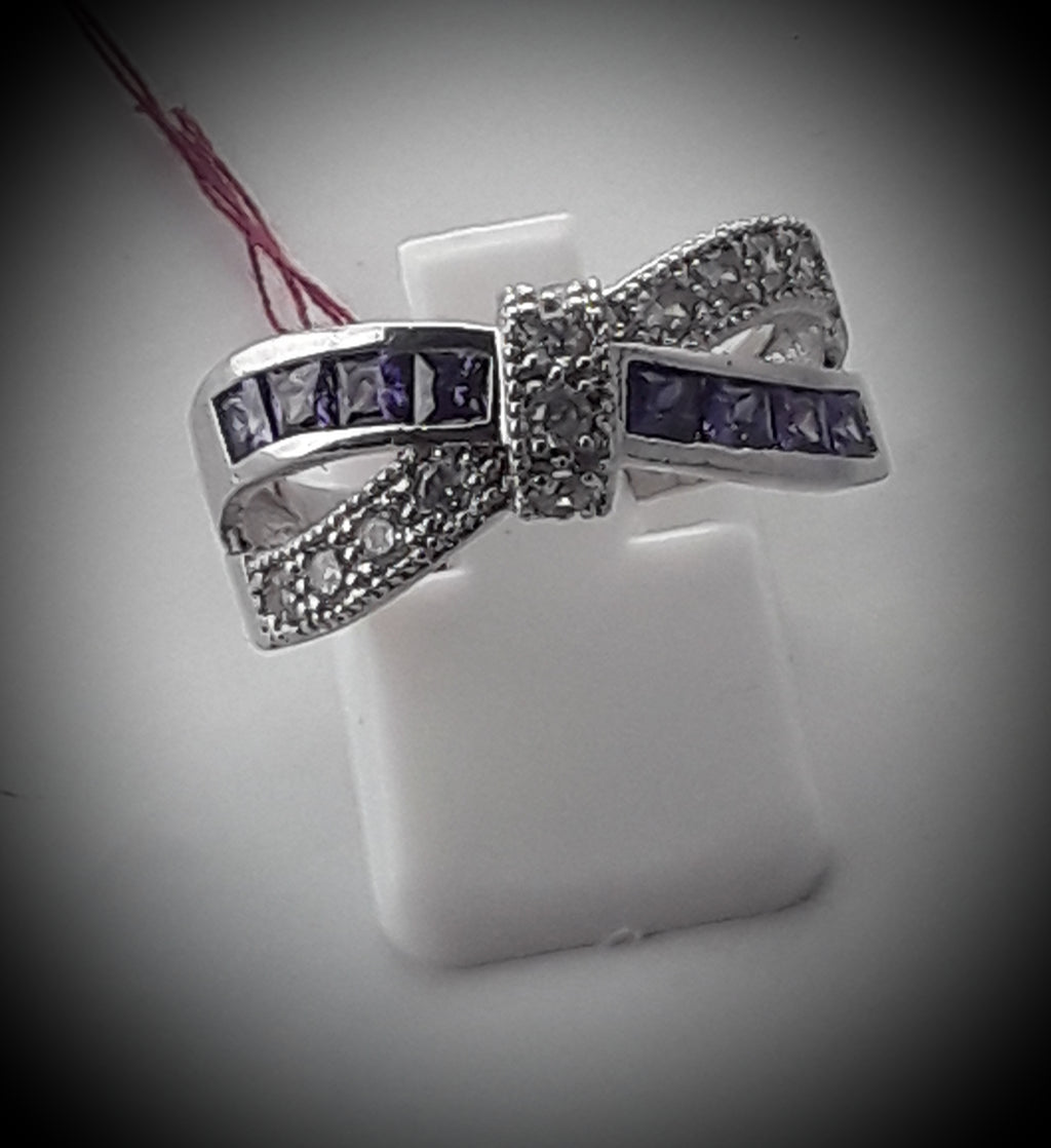 Amythest and rhinestone bow ring
