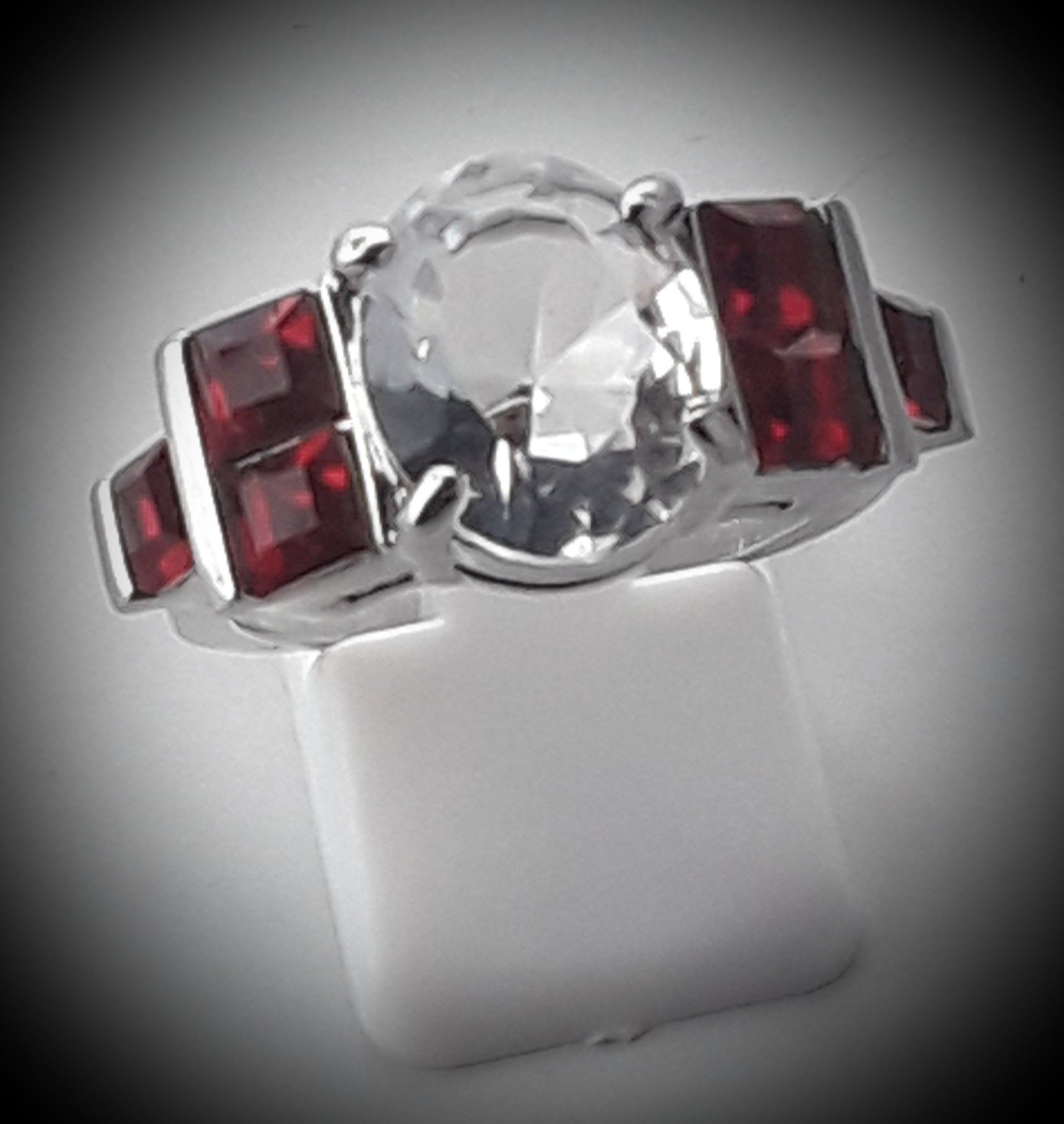 Red and white ring size 9