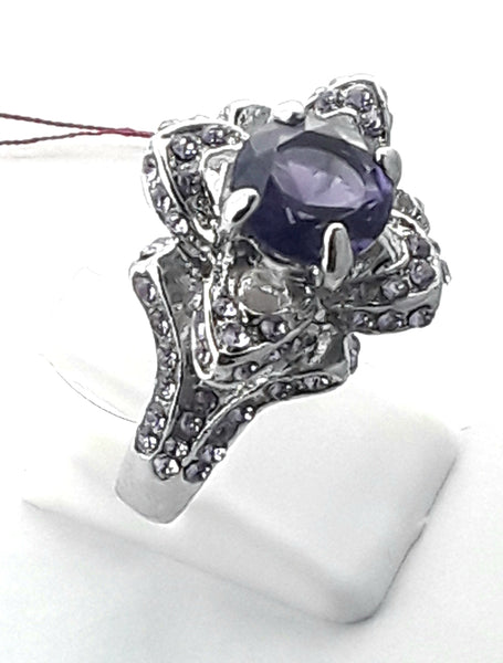 Rose ring 925silver with amythest and light or dark rhinestones