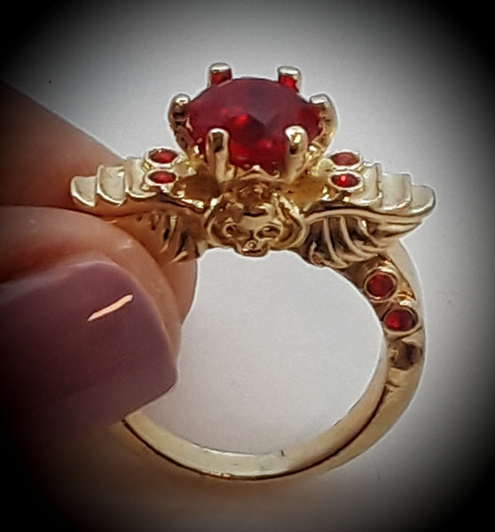 Angel wings and skull ring red size 8