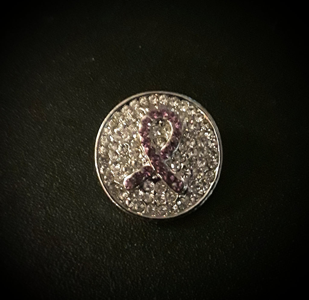 18mm noosa snap pink rhinestone awareness ribbon