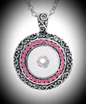 18mm noosa snap pendant with pink rhinestones