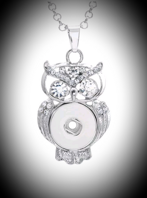 18mm noosa snap owl pendant with  rhinestones