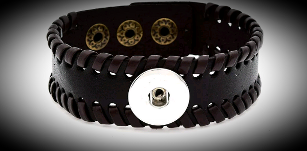 Dark brown bracelet with 18mm snap base
