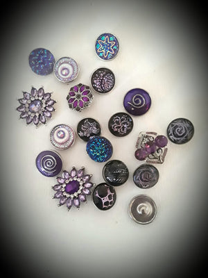 A variety of Purple snaps 18mm noosa snaps