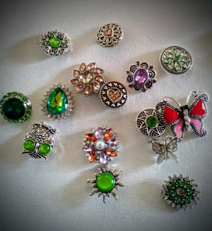 Snaps w multiple colored rhinestones metal and designs