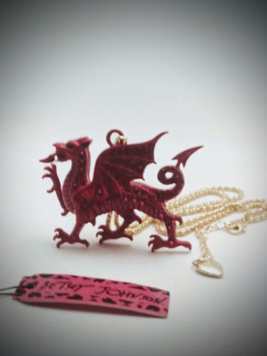Hot Betsey Johnson red dragon 3D pendant