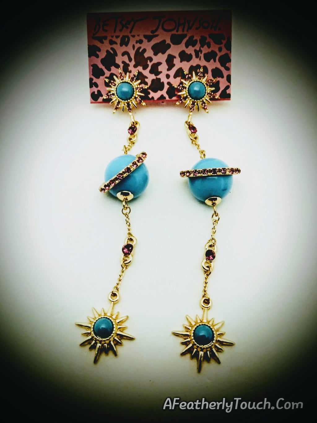 Beautiful Betsey Johnson Unique Planet and Star Earrings
