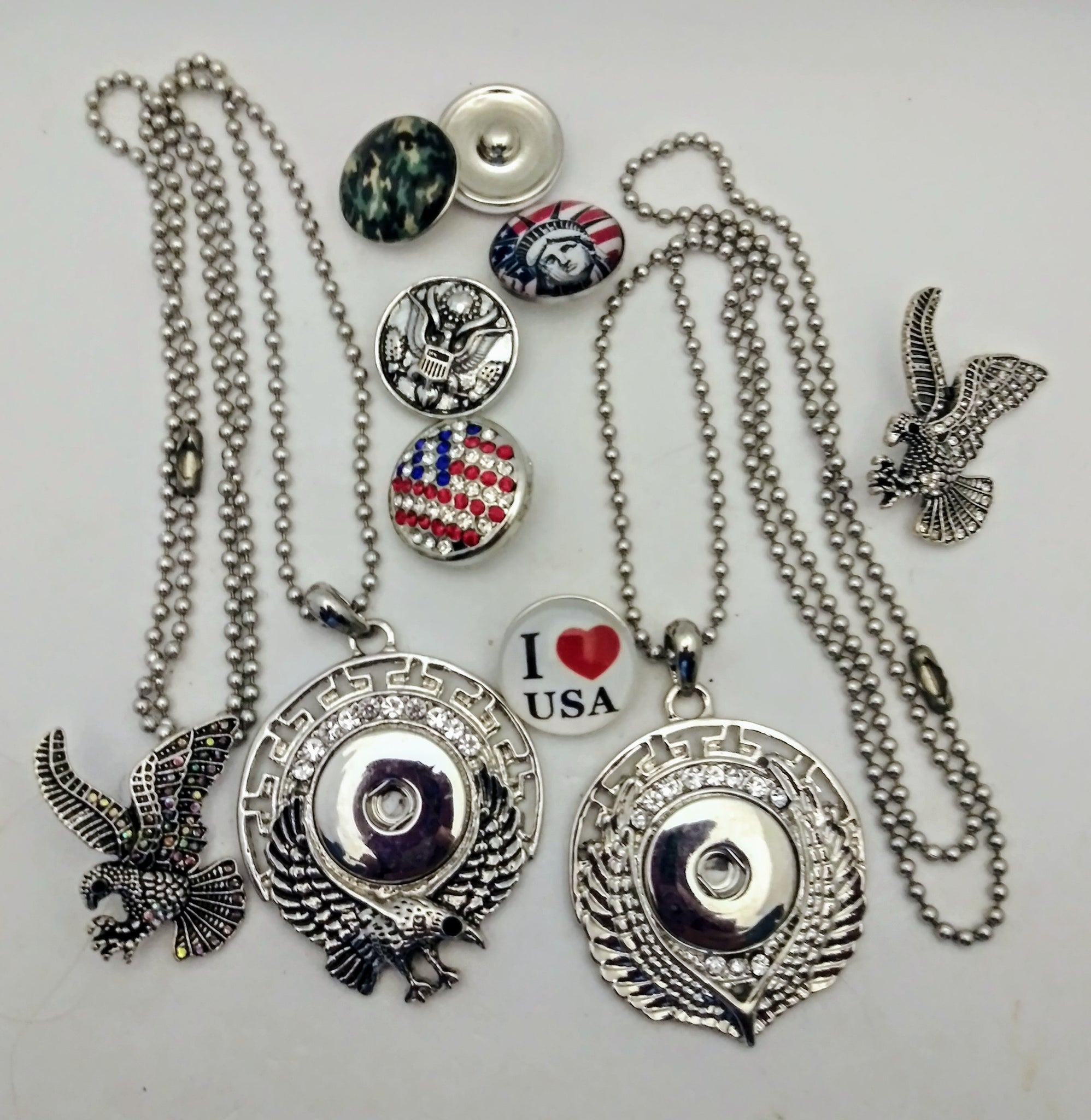 Patriotic USA snaps and pendants 18mm