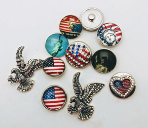 USA pendants and snaps