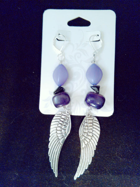 Purple angel wings earrings with black tourmaline