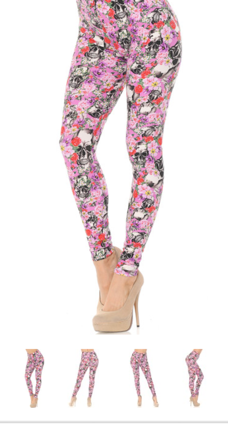 Buttercream soft leggings spring roses and skulls