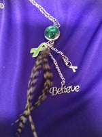 Lyme disease awareness pendant with changeable snap and feathers