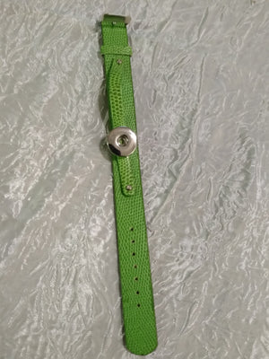 Hot 🔥 new snap jewelry Leather Green  bracelet 18mm snaps