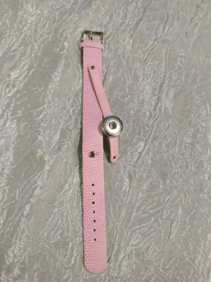 Hot 🔥 new snap jewelry Leather pink bracelet 18mm snap