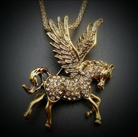 BETSEY JOHNSON GOLD AND CRYSTAL PEGASUS HORSE PENDANT/BROACH