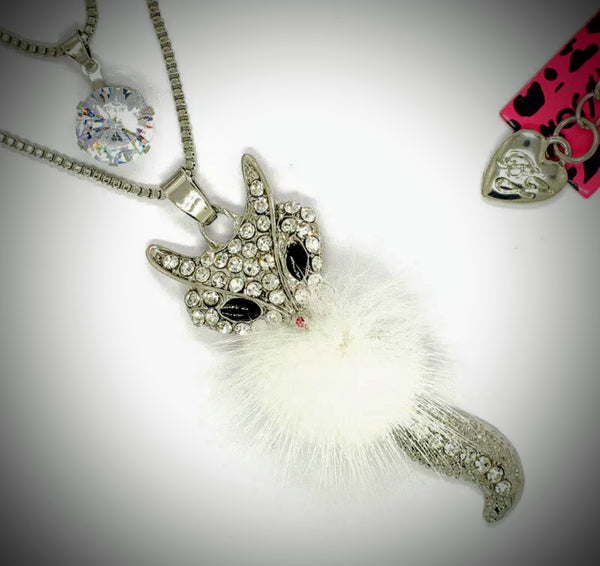Beautiful Betsey Johnson Fluffy Fox double necklace