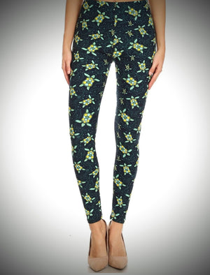 Buttercream soft leggings with cute turtles