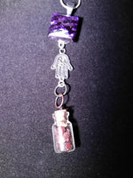 Crystals in a bottle gem necklace garnet with removable snap