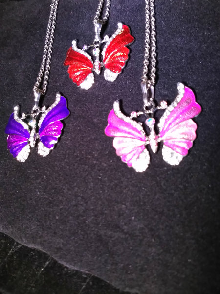 Beautiful butterfly pendants with Rhinestones