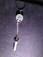 Crystal Hematite necklace with removable tree of life snap