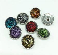 HOT NEW FASHION SNAP AND SWITCH 18mm Snaps with punk swirl design in multiple colors