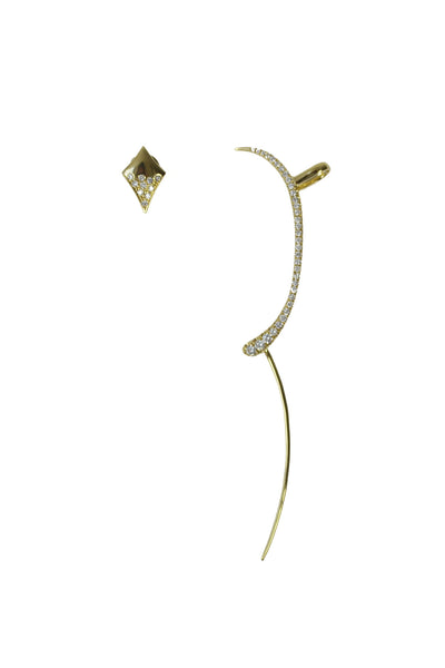 DH SIGNATURE EARRINGS - SOLID GOLD/WHITE DIAMONDS
