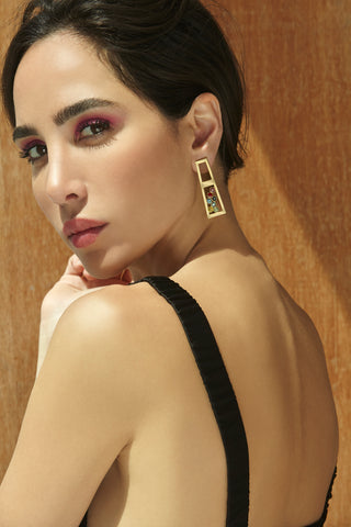 Sahhab single earring - Clustered Gems