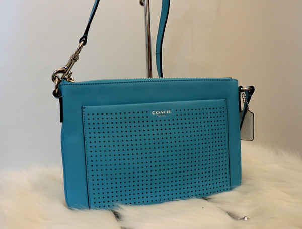 Blue Detailed Leather Crossbody Bag