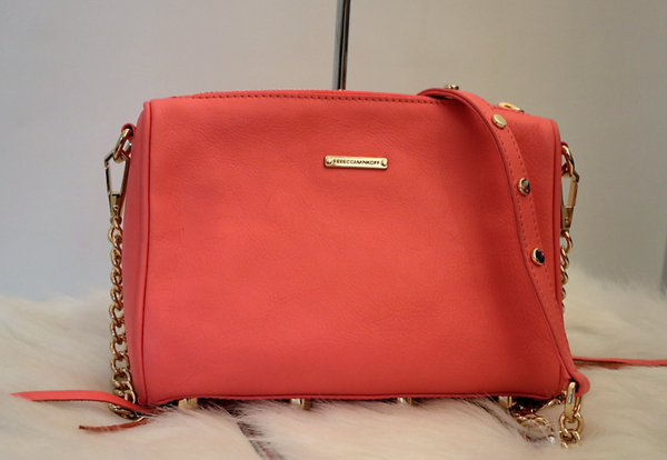 67c19043ab61ee Coral and Gold Double Zip Crossbody – Tiffany Blue - The Designer Consignor