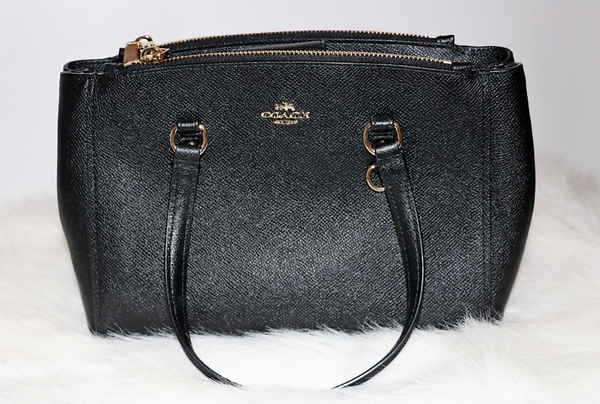 Black Leather Double Strap Crossbody Bag