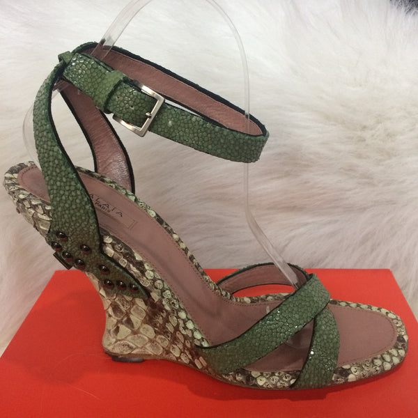 Alaia Green Strappy Wedge