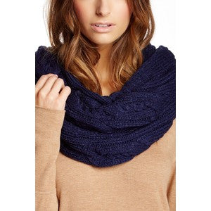 Blue Cable Knit Scarf