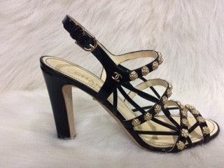 Gold and Black Chanel Strappy Sandals
