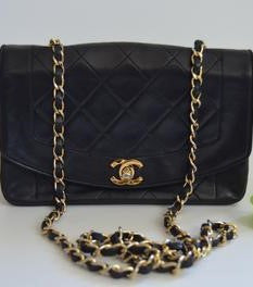 Chanel Black Lambskin Diana Shoulder Bag