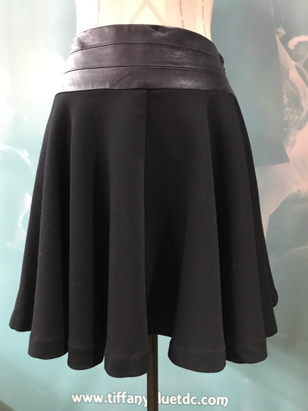 Black Milly Leather Detail Skirt
