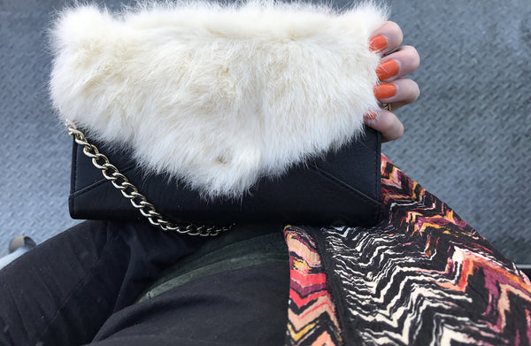 Rebecca Minkoff Rabbit Fur-Trim Clutch