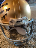 "JOHN HAURTE HEISMAN 1964 N.D. #7 SIGNED ND ""IRISH"" MINI HELMET - STUNNING"