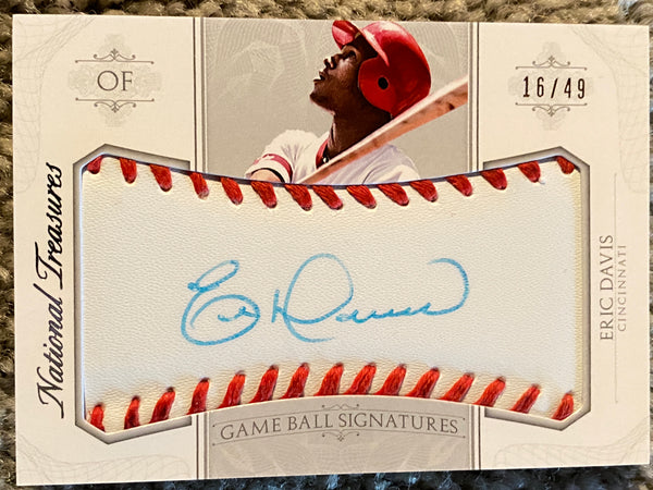 ERIC DAVIS NATIONAL TREASURES INSERT 16/49 SIGNED ON REAL LEATHER BASEBALL