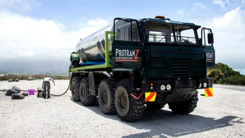 ANDY JACKSON/Stuff.co.nz: Gerard Daldry from Protranz Earthmoving is trucking water from Kaikoura's town centre up to the reservoir.
