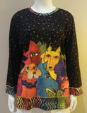 Laurel Burch Canine Clan 3/4 Sleeve Artistic Top