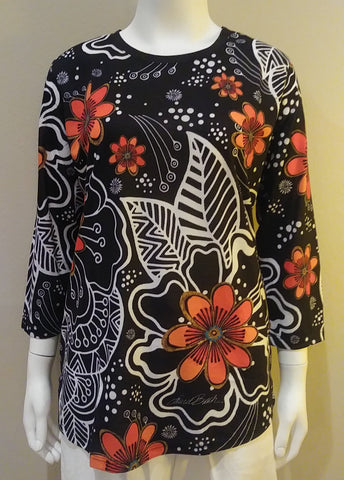 Laurel Burch White on Black Floral Artistic Top