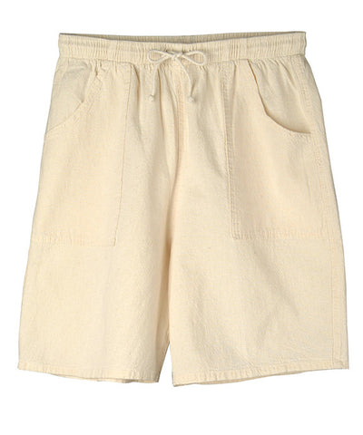 Drawstring walk shorts in crinkle cotton
