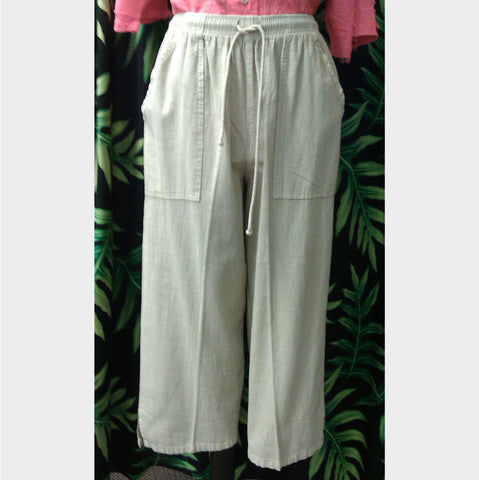 Crinkle cotton flood pant