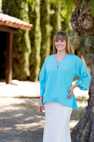 Linen Ripple Tide Tunic by Fridaze