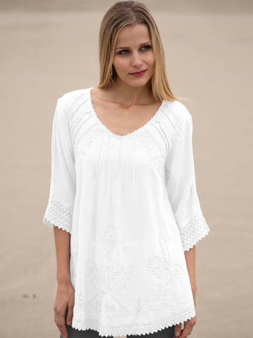 Adara Cotton V-Neck Tunic Pullover by Gretty Zueger